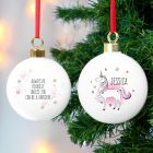 Personalised Unicorn Design Bauble