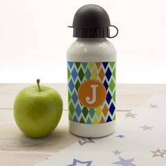 Personalised Boys Harlequin Water Bottle - 5 Colours