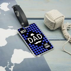 Personalised Chequered World's Best Dad Luggage Tag