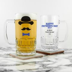 Personalised Happy Fathers Day Beer Tankard with Bowler Hat