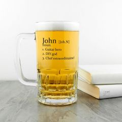 Personalised Name Definition Beer Glass Tankard