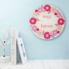 Flower Design Personalised Little Girl's Wall Clock