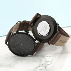 Men's Personalised Modern Watch With Black Face in Brown