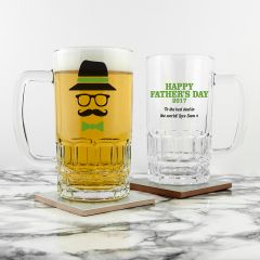 Personalised Hipster Happy Fathers Day Beer Tankard