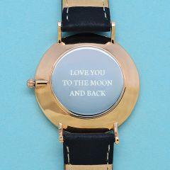 Ladies Personalised Modern Leather Watch in Black