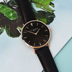 Ladies Personalised Modern Leather Watch in Black