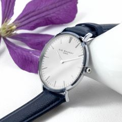 Ladies Personalised Modern Leather Watch In Navy & Silver