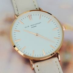 Ladies Personalised Modern Leather Watch in Stone