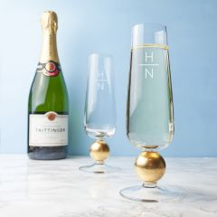 Monogrammed Pair of Gold Champagne Glasses