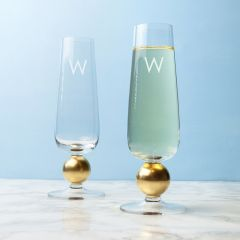 Personalised Set Of Two Gold Champagne Glasses