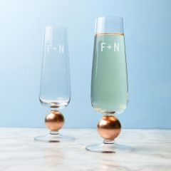 Monogrammed Pair of Rose Gold Champagne Glasses