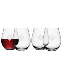Personalised Monogrammed Stemless Red Wine Glass