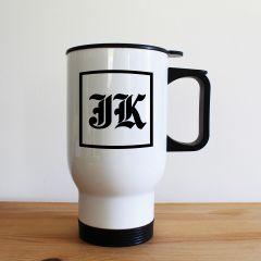 Personalised Medieval Initials White Travel Mug