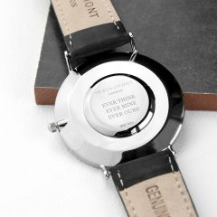 Men's Personalised Modern Leather Watch In Black