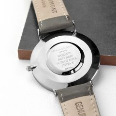 Men's Personalised Modern Leather Watch In Ash