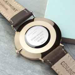 Men's Personalised Modern Leather Watch In Brown