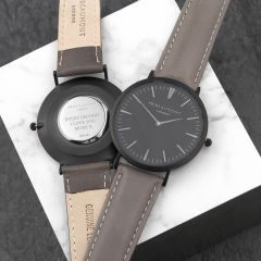 Men's Personalised Leather Watch In Modern-Vintage Black