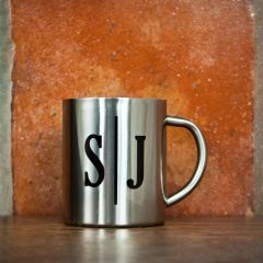 Personalised Monogram Initial Landscape Silver Outdoor Mug