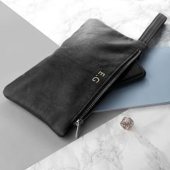 Personalised Monogrammed Black Leather Clutch Bag