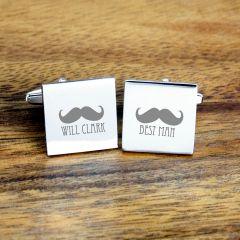 Personalised Best Man Moustache Cufflinks