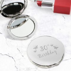 Happy 30th Butterfly Round Compact Mirror