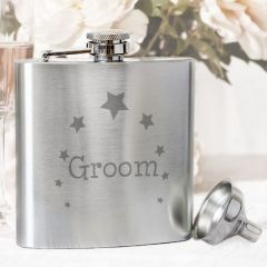 Groom Star Design Hip Flask