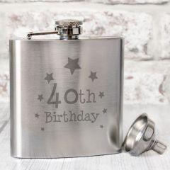 Happy 40th Birthday Hip Flask