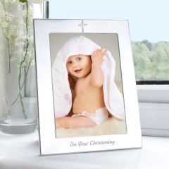 Silver Christening Photo Frame 5x7