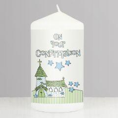 Blue Confirmation Church Keepsake Candle