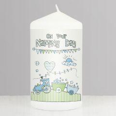 Baby Naming DayTrain Bunting Keepsake Candle