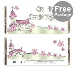 Pink Design On Your Confirmation Church Chocolate Bar