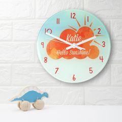 Orange Sunshine Personalised Wall Clock