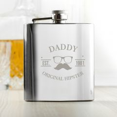 Personalised Original Hipster's Silver Hip Flask
