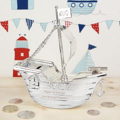 Personalised Pirate Ship Design Money Box