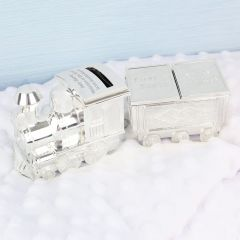 Personalised Train Money Box with Baby Tooth & Curl Trinket Box