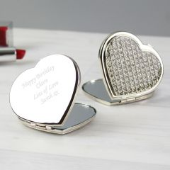 Personalised Diamante Heart Design Compact Mirror