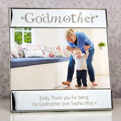 Personalised Silver Godmother Square Photo Frame 6x4