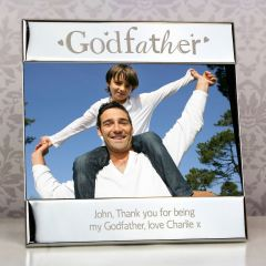 Personalised Silver Godfather Square Photo Frame 6x4