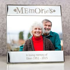 Personalised Silver Memories Square Photo Frame 6x4
