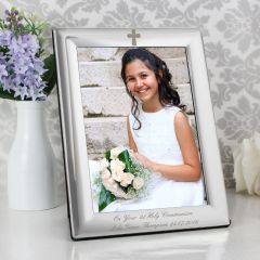 Personalised Silver Plated Elegant Cross Photo Frame 5x7