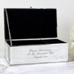 Personalised Any Message Mirrored Design Jewellery Box