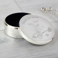 Personalised Train Design My First Curl Trinket Box