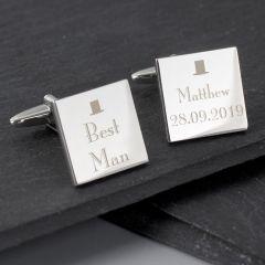 Personalised Wedding Design Best Man Square Cufflinks