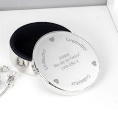 Personalised Godmother Design Round Trinket Box