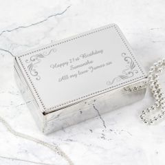 Personalised Swirl Design Rectangular Jewellery Box