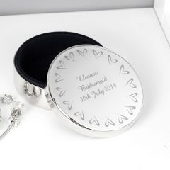 Personalised Small Hearts Design Round Trinket Box