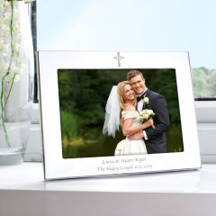 Personalised Silver Landscape Cross Photo Frame 7x5