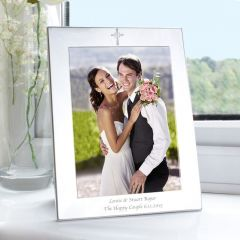 Personalised Silver Cross Photo Frame 5x7