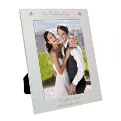 Personalised Silver Decorative Our Wedding Day Photo Frame 5x7