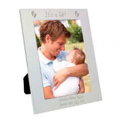 Personalised Silver Footprints Photo Frame 5x7